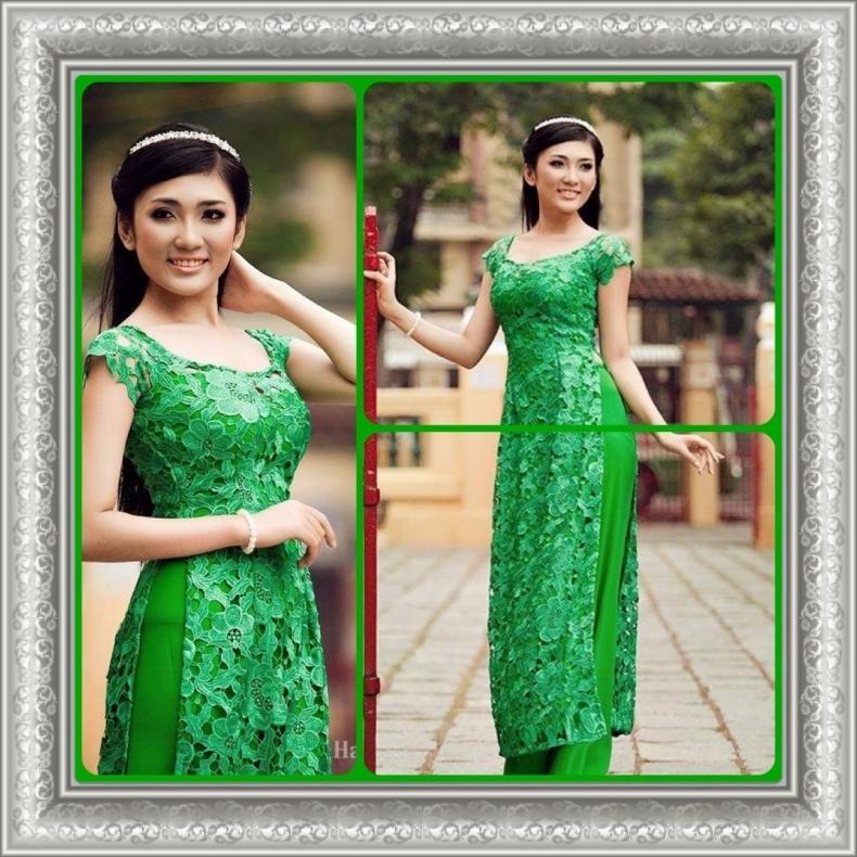 Áo dài cưới xanh lá đầy sức sống 03