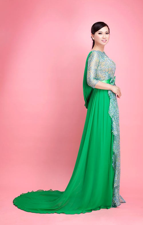 Áo dài cưới xanh lá đầy sức sống 05