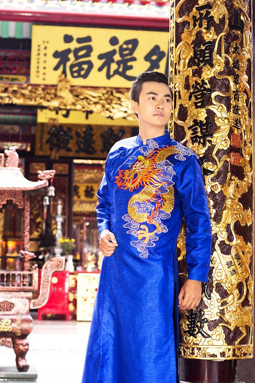 Áo dài họa tiết hình rồng cho chú rể 01