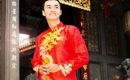 Áo dài họa tiết hình rồng cho chú rể 03