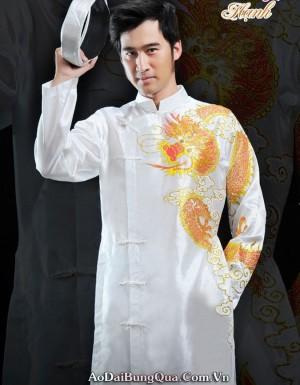 Áo dài họa tiết hình rồng cho chú rể 04