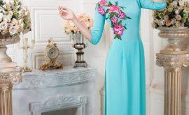 Áo dài xanh ngọc thanh nhã 03