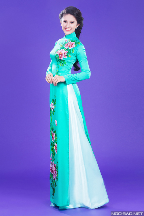 Áo dài xanh ngọc thanh nhã 08