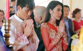 Thủy tiên mặc áo dài đỏ trong ngày cưới 02