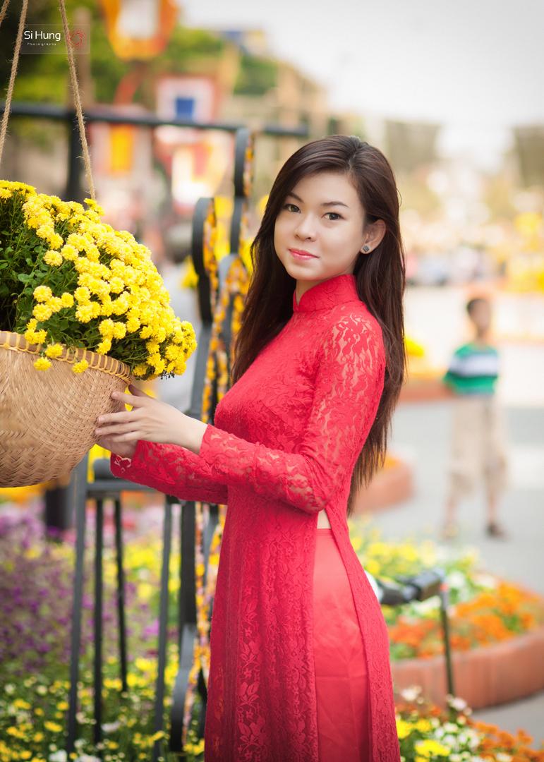 áo dài chụp hình xuân 13