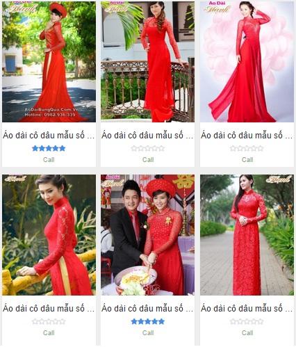 Các mẫu áo dài cưới đỏ