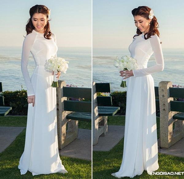 Áo dài trắng cho cô dâu 01