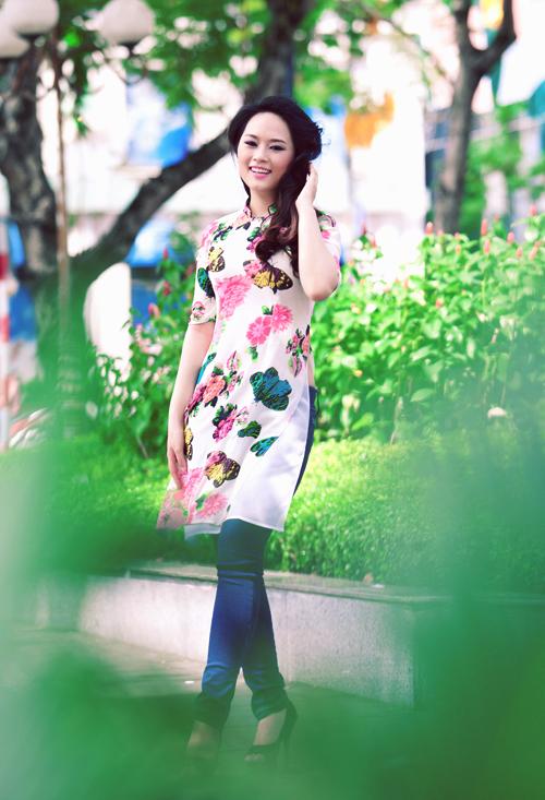 Áo dài cách tân vạt ngắn hot nhất hè Sài Gòn 06