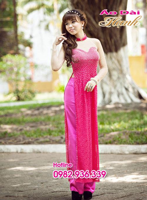 Áo dài cưới hồng sen