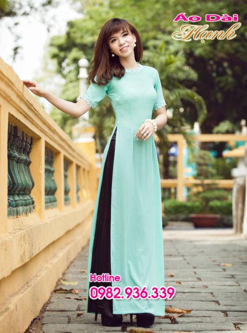 Áo dài xanh ngọc chifon tay ngắn