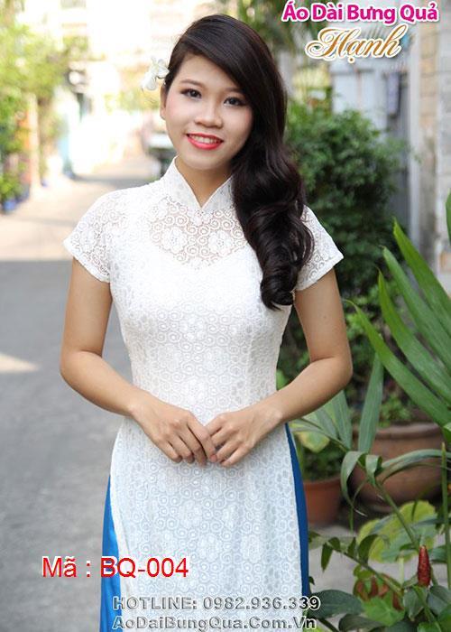 Áo dài trắng ren hoa mai cổ truyền thống tay ngắn cúp ngực