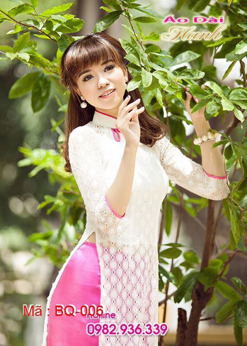 Áo dài trắng ren bi cổ 3GN viền hồng sen tay lỡ cúp ngực