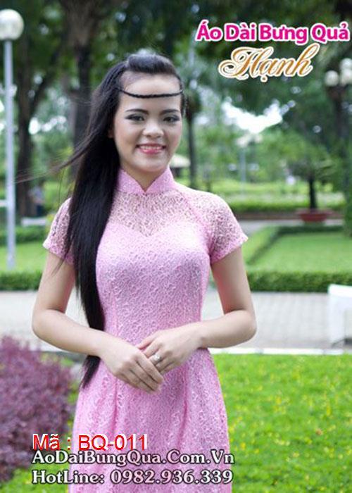 Áo dài hồng phấn ren lưới cổ truyền thống tay ngắn cúp ngực
