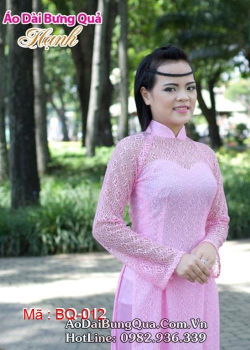 Áo dài hồng phấn ren lưới cổ truyền thống tay dài cúp ngực