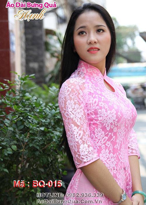 Áo dài hồng phấn ren hoa cổ 1 GN tay lỡ lót ngực