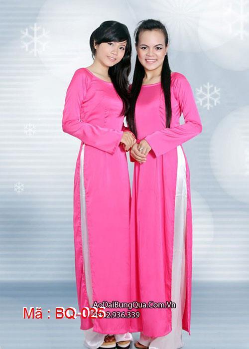 Áo dài hồng sen lụa cổ thuyền tay dài