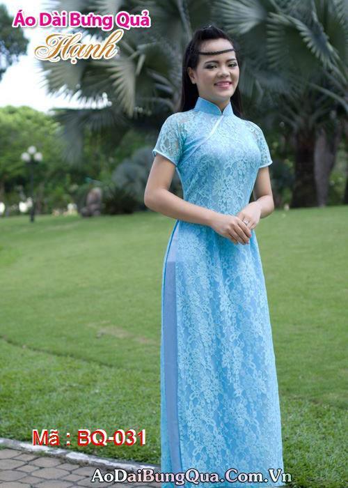 Áo dài xanh dương ren hoa cổ hò tay ngắn lót ngực