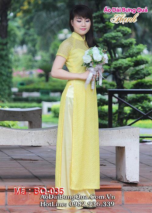 Áo dài vàng ren lưới cổ truyền thống tay ngắn cúp ngực