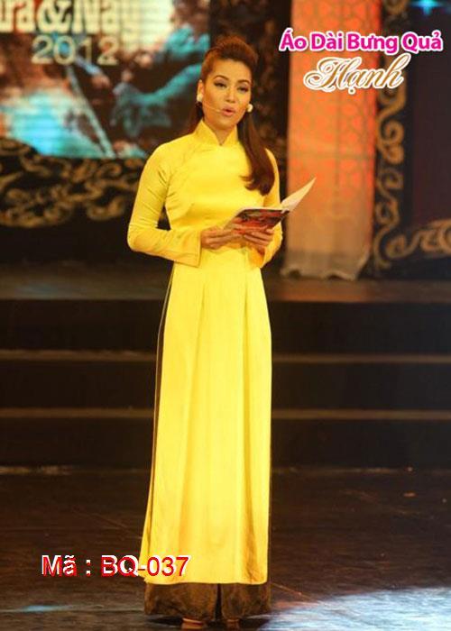 Áo dài vàng phi bóng cổ truyền thống tay dài