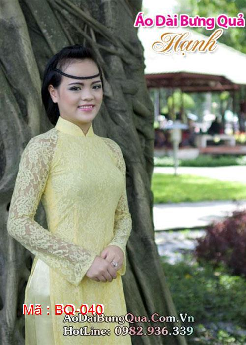 Áo dài vàng tươi ren hoa cổ truyền thống tay dài lót ngực