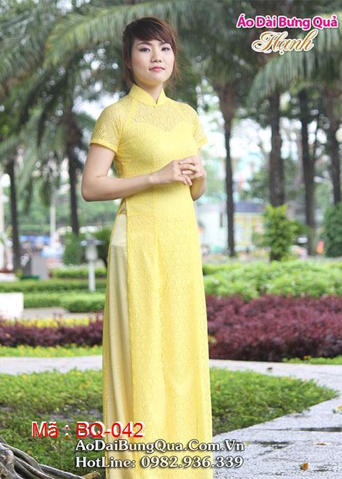 Áo dài vàng lá me cổ truyền thống tay ngắn cúp ngực