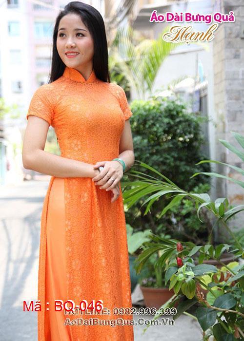 Áo dài cam ren hoa mai cổ truyền thống tay ngắn cúp ngực