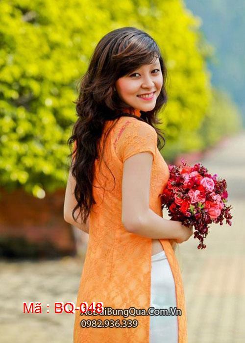 Áo dài cam ren hoa cổ truyền thống tay ngắn