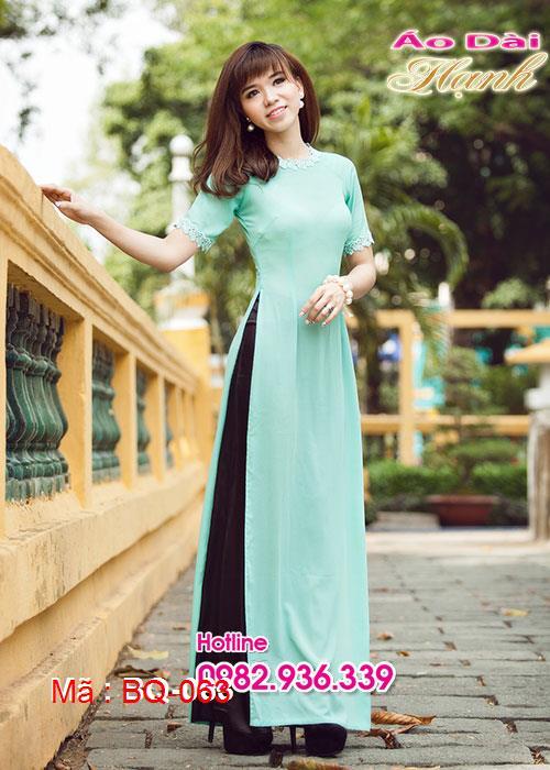 Áo dài xanh ngọc chiffon cổ tròn phối ren đính châu tay ngắn