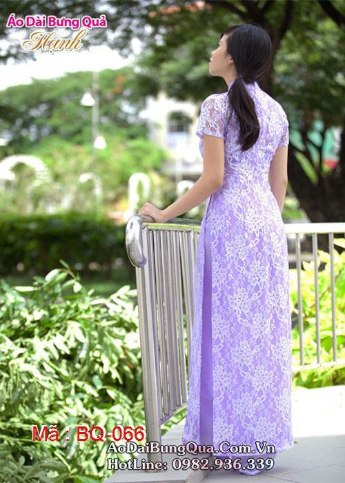 Áo dài tím môn ren hoa cổ truyền thống tay ngắn lót ngực