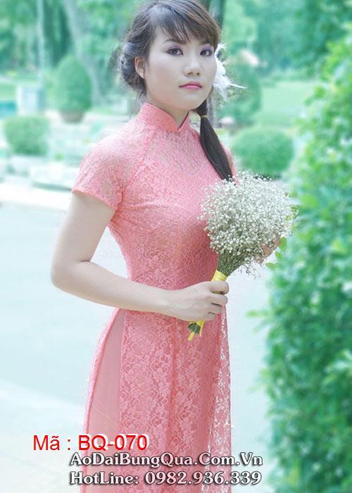 Áo dài cam cà rốt ren hoa cổ truyền thống tay ngắn lót ngực