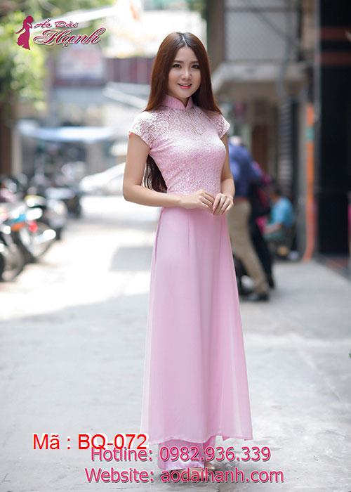Áo dài hồng phấn chiffon phối ren tà A cổ truyền thống tay ngắn cúp ngực