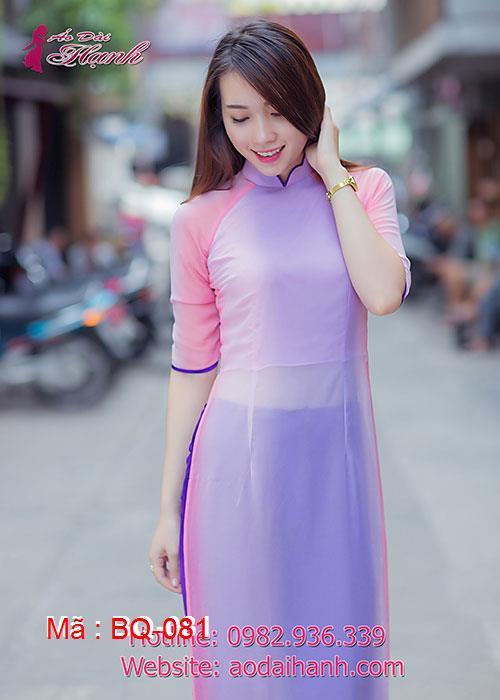 Áo dài tím hồng dâu voan cổ hoa tay lỡ