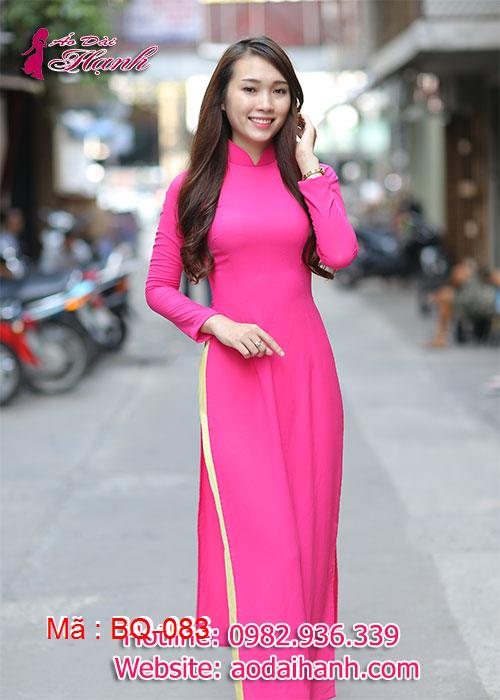 Áo dài hồng sen chiffon trơn cổ truyền thống tay dài lót ngực