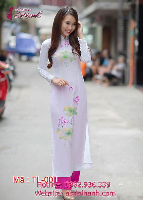 Áo dài trắng voan hoa sen cổ truyền thống tay dài