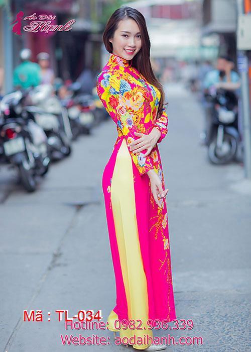 Áo dài hồng sen lụa hoa văn cổ truyền thống tay dài