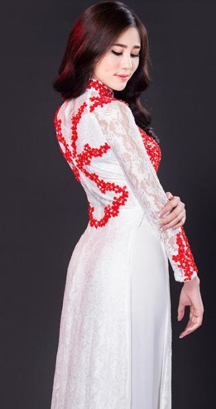 áo dài họa tiết đỏ