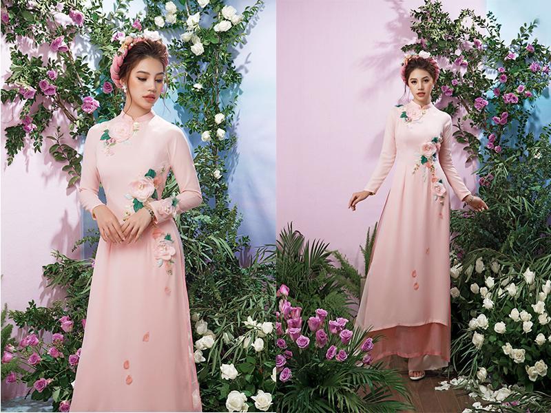 áo dài ăn cưới in hoa nổi