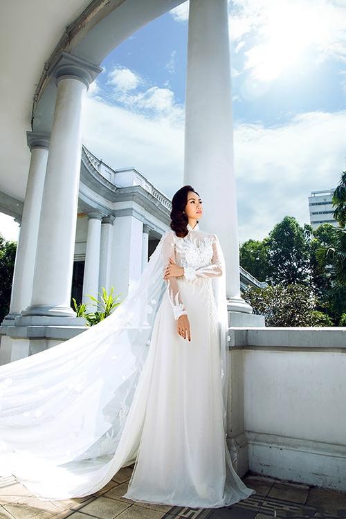 áo dài phối ren trắng