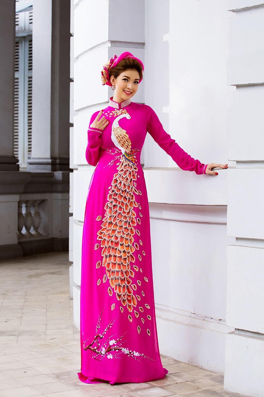 áo dài 2 lớp màu hồng
