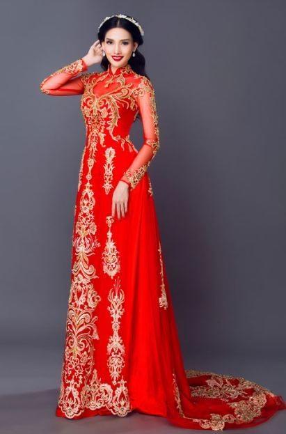 áo dài cô dâu cách tân màu đỏ