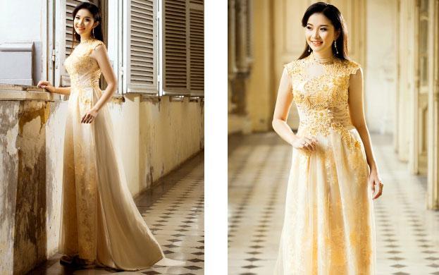 áo dài cô dâu truyền thống vàng đồng