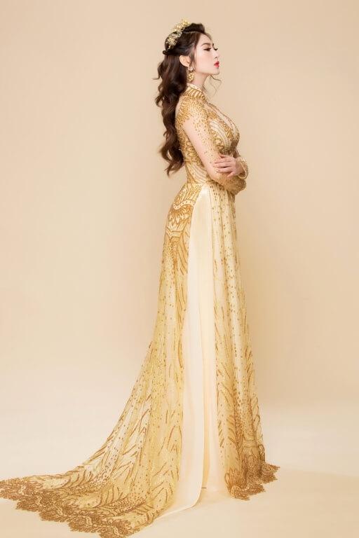 áo dài cô dâu vàng kim