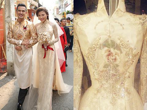 áo dài cô dâu cưới vàng đồng