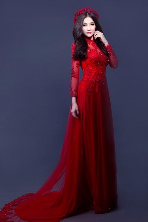 áo dài đám hỏi màu đỏ