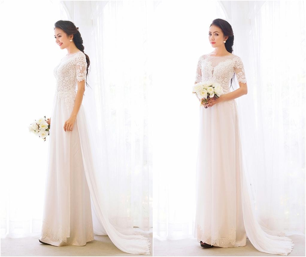 áo dài đính hôn cô dâu màu trắng