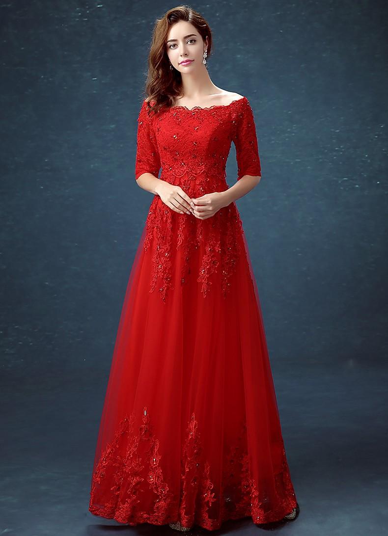 áo dài đỏ ren ngày cưới
