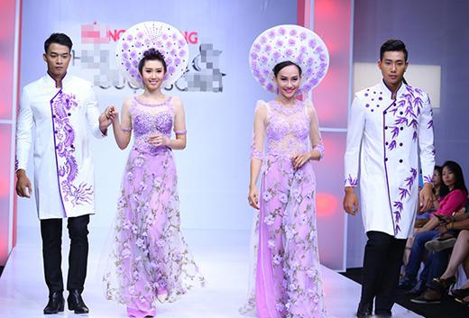 áo dài ngày cưới in hoa