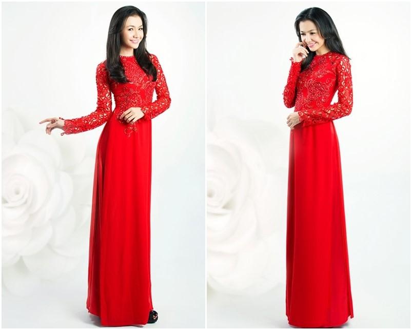 áo dài cô dâu màu đỏ cam