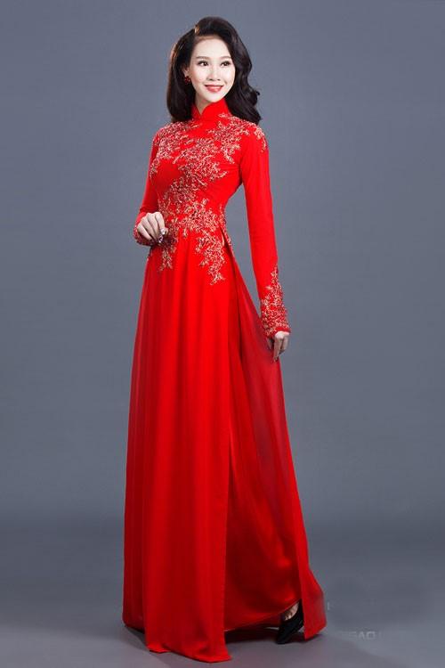 áo dài cô dâu màu đỏ đẹp