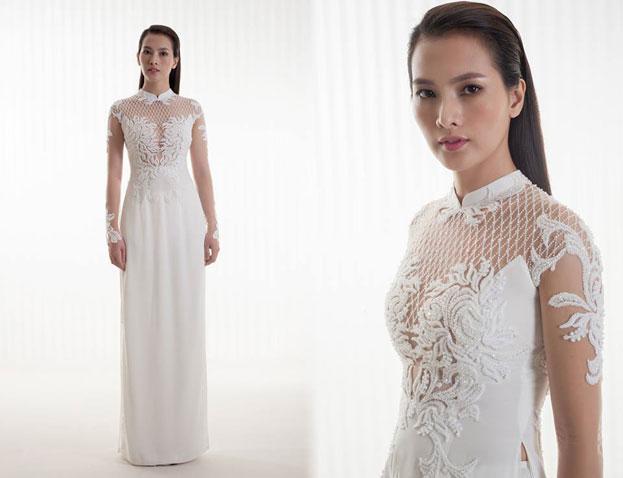 áo dài cô dâu màu trắng đính đá đơn giản